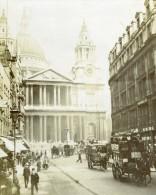 Royaume Uni Londres Eglise Saint Paul Scene De Rue Animée Ancienne Photo Instantanée Amateur 1900 - Places