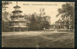 """CPSM S/w AK German Empires,DR München 1921 """"München-Gastwirtschaft Chinesischer Turm  """"1 AK Used - Restaurants"""