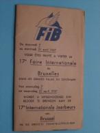 17e Foir / Jaarbeurs Int. De BRUXELLES Anno 1937 Brussel ( Gevouwen / Plier 18 X 10,5 Cm. / Zie Foto´s Voor Detail ) ! - Dépliants Touristiques