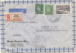 Suomi Finland Registered Air Mail Cover Helsinki - Helsingsfors 1952 To France Pantin Arrival Cancellation PR2969 - Finlande