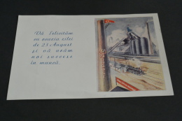 TR890- Post Card -fold In The Middle -from Paper  Romania 23 August -train - Treni