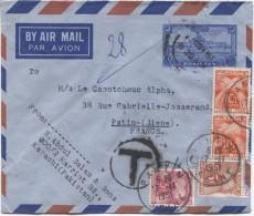 Entier By Air Mail Par Avion Du Pakistan V.France Griffe T Taxé 28 Fr  Par TTx Français C.Pantin17/11/1951 PR2973 - Taxes