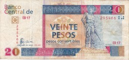 BILLETE DE CUBA DE 20 PESOS CONVERTIBLES DEL AÑO 2006  (BANKNOTE) - Cuba