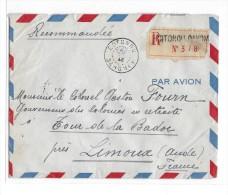 Recommandé De Cotonou  Pour Limoux Affr. Au Dos Avec Timbres De La Victoire - 1921-1960: Modern Period