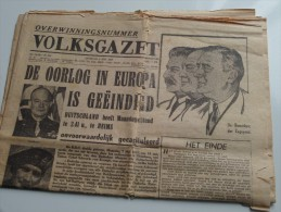 VOLKSGAZET Overwinningsnummer 8 Mei 1945 ( Nr. 206 23e Jaar ) Gekreukt ( Zie Foto´s ) KRANT / GAZET !! - Magazines: Subscriptions