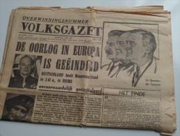 VOLKSGAZET Overwinningsnummer 8 Mei 1945 ( Nr. 206 23e Jaar ) Gekreukt ( Zie Foto's ) KRANT / GAZET !! - 1939-45