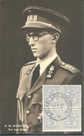 ! - Belgique - Carte Postale Avec Le Roi Baudouin 1er De Belgique - Avec Timbre Cob 849 En Carré - Belgium