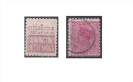 """Nouvelle Zélande Publicité """"Bonninctons Irish Moss, A Slight Cold Use At Once"""" - 1855-1907 Crown Colony"""