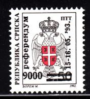Bosnia And Herzegovina Serb Admin MNH Scott #25 9000d On 50d Coat Of Arms - Bosnie-Herzegovine