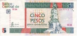 BILLETE DE CUBA DE 5 PESOS CONVERTIBLES DEL AÑO 2006  (BANKNOTE) ANTONIO MACEO - Cuba