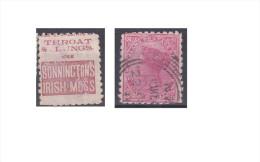 """Nouvelle Zélande Publicité """"Bonninctons Irish Moss, Throat & Lungs Use """" - Used Stamps"""