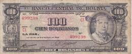BILLETE DE BOLIVIA DE 100 BOLIVIANOS DEL AÑO 1945 (BANKNOTE) - Bolivia