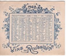Calendrier 1923 De François ROLLAND  VINS  DU ROUSSILLON A PERPIGNAN - Kalenders
