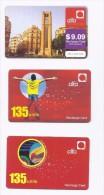 3 Used Recharge Cards Phonecards  Alfa Lebanon 2008/10/12, Telecarte Liban