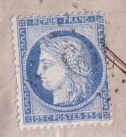 CHARENTE - ANGOULEME - N°60 SUR LETTRE VARIETE E DE REPUB TENANT AU CADRE - LE 27-8-1874. - 1849-1876: Classic Period