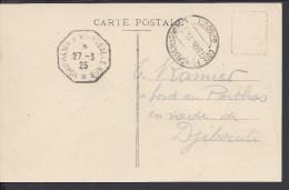 COTE FRANCAISE DES SOMALIS - 1925 - CORRESPONDANCE A BORD DU PORTHOS EN RADE DE DJIBOUTI SUR CARTE POSTALE - - Lettres & Documents