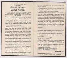 DP Gustaf BEKAERT - Vantomme - Heule - Wevelgem - 11868 / 1960 - Obituary Notices