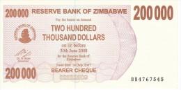 BILLETE DE ZIMBAWE DE 200000 DOLLARS DEL AÑO 2007 SIN CIRCULAR-UNCIRCULATED  (BANKNOTE) FABRICA-NUCLEAR - Zimbabwe