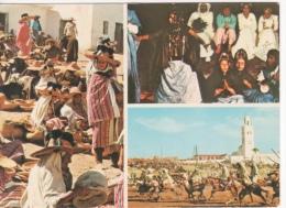 MAROC -   SCENE TYPIQUE  - DANSE DE LA GUEDRA  - MARCHE DANS LE RIF  LA FANTASIA - Maroc