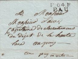 France P 64 P PAU Basses-Pyrénées En Noir Port Payé Sur Lettre Pour Puy-en-Velay 1808 (o45) - Storia Postale