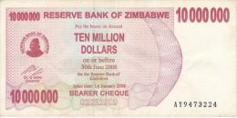 BILLETE DE ZIMBAWE DE 10000000 DOLLARS DEL AÑO 2008  (BANKNOTE) PEZ-FISH - Zimbabwe
