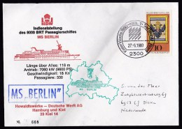 Germany: Commemorative Cover To Netherlands, 1980, Maiden Voyage Passenger Ship MS Berlin, Shipyard Kiel (minor Crease) - Brieven En Documenten