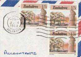 1988 Air Mail ZIMBABWE  COVER  Multi Stamps  ELEPHANT Elephants - Zimbabwe (1980-...)