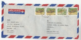 1991  Air Mail SRI LANKA COVER   4 X FISH Stamps ( 3x 2.00 1x 8.00) To GB - Fishes