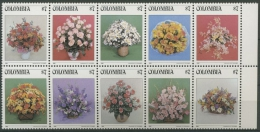 Kolumbien 1982 Blumensträuße Zehnerblock 1579/88 ZD Postfrisch (C11797) - Colombia