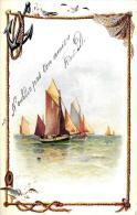 [DC2669] CPA - VELIERI - NELLA CORNICE ANCORA RETI E GABBIANO - Viaggiata 1905 - Old Postcard - Sailing Vessels