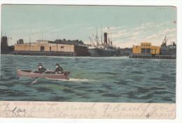Vintage 1908 - Boston Massachusetts MA - Cunard Wharf - Stamp & Postmark - Simple Back - 2 Scans - Boston