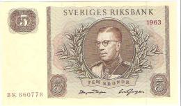 Sweden - Pick 50b - 5 Kronor 1963 - AUnc - Suède