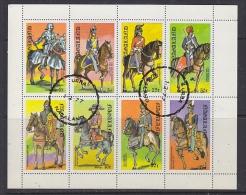 Nagaland 1977 Military Uniforms / Horses 8v In Sheetlet Used (F5138) - Fantasie Vignetten