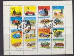Oman 1972 Cars 16v In Sheetlet Used (F5139) - Oman