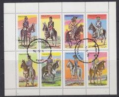 Nagaland 1976 Military Uniforms / Horses 8v In Sheetlet Used (F5141) - Fantasie Vignetten