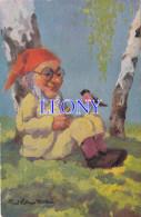 CPSM 9X14   Représentant Un NAIN Assis Au PIED D'un ARBRE Avec Un OISEAU Sur Les GENOUX - Signée PAUL LOTHAR MULLER - Fairy Tales, Popular Stories & Legends