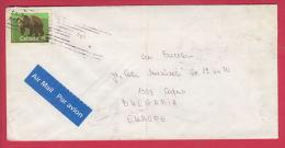 "205235 / 1990 - 76 C. - ANIMAL GRIZZLY BEAR , FLAMME "" "" , TORONTO - SOFIA , Canada - Lettres & Documents"