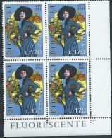 Italia 1977 ; Anniversario Di Dina Galli , Attrice : Quartina D' Angolo Con FLUORESCENTE - 6. 1946-.. Repubblica