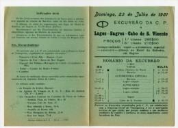 Portugal,Lagos, Sagres, Cabo S. Vicente - Excursão Da C.P. 1961, Horário, Timetable, Comboio, Train  (2 Scans) - Europe