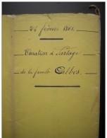 Agen 1861 Donation Et Partage  Famille Calbis  (11 Pages Plus Couverture) - Manuscrits