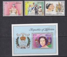 Liberia 1977 Silver Jubilee 3v + M/s Used (27692) - Liberia