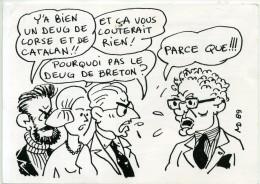 Bretagne - Carte-Pétition Pour Un DEUG De Breton ; Illustration Michel Deligne. - Personnages