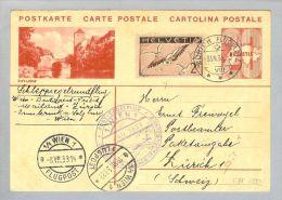 Schweiz Flugpost Postsegelflug 1933 Juli Wien>Wien CH-GS+Zu#13 - Luchtpostzegels