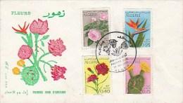 ALGERIE - SERIE FLEURS SUR F.D.C. -N° 484 A 487  - ANNEE 1969 - Algérie (1962-...)