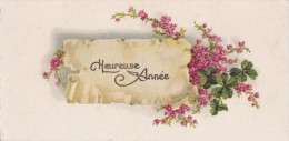 Carte Bonne Année . Trèfles A 4 Feuilles Et Fleurs . - Nouvel An