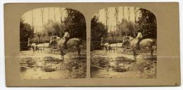 Berry, Vue Stéréoscopique Papeterie Romain, Passage Des Panoramas. Le Cavalier Monte à Cru. Annotat - Foto