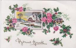 Carte Bonne Année . Fleurs . Paysage . Houx - Nouvel An