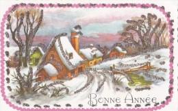 Carte Bonne Année . Village Sous La Neige . - Nouvel An