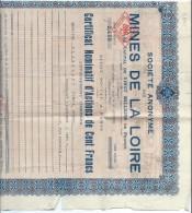Mines De La Loire/Certificat Nominatif D´Actions De  Cent Francs/Paiement Dividendes/Chaix/Paris/1943    ACT98 - Mines