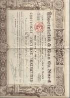 Electricité Et Gaz Du Nord/Certificat D'actions Nominatives/Richard/Rue De Pétrograd/Paris/Hautmont/Nord/1943   ACT99 - Electricidad & Gas